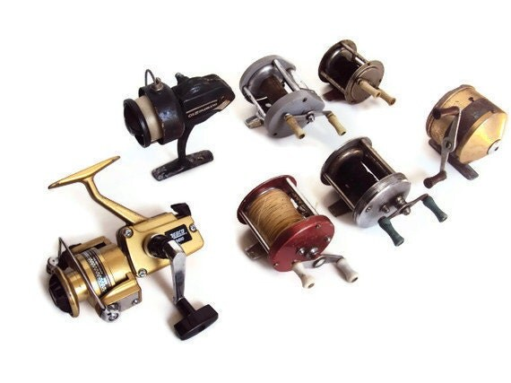 Instant Collection of Vintage Fishing Reels, Antique Brass Reel, Zebco, Compac, Ocean City & Bronson Brands, Shabby Chic Man Cave Home Deco