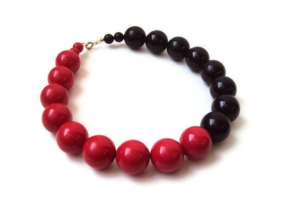 Large Vintage Red and Black Beaded Necklace, Mod Costume Jewelry, Big Statement Necklace, Huge Choker, Two Tone Necklace