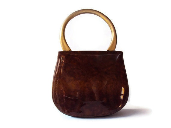 Vintage Brown Purse, Faux Patent Leather Vinyl Hand Bag with Gold Metal Handle, Clean Interior, Vintage Accessory