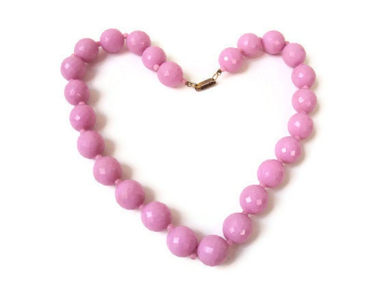 """Vintage Pink Necklace, Cotton Candy Pink Costume Jewelry Choker, Disco Ball, Faceted Plastic Beaded Necklace, 20"""""""