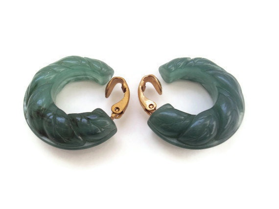 Vintage Green Lucite Earrings by Avon, Designer Clip On Hoops, Sage Green Costume Jewelry