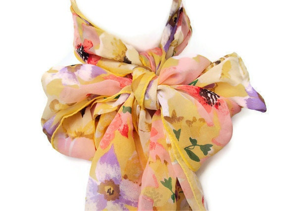 "Vintage Silk Scarf, Designer Silk Scarf by Bill Blass for Baar & Beards, Yellow Scarf, Pastel Flowers, Floral Pattern, Long Scarf, 57"" X 11"