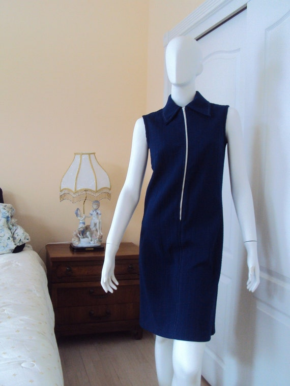 Vintage Navy Blue Dress - 60s Retro Mod Clothing - Women's Small / Medium - Union Made - Textured Fabric