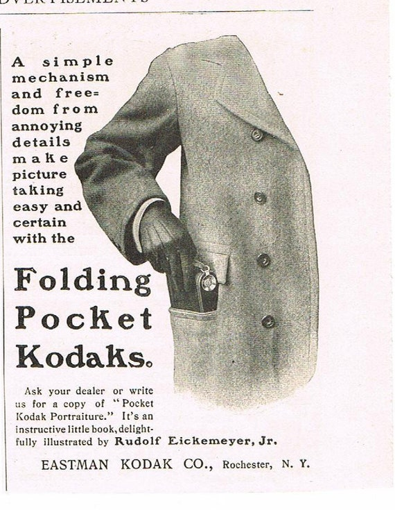 Antique 1901 Kodak Camera Advertisement, Ad for Folding Pocket Kodaks, Collection Worthy Paper Ephemera, MINT Condition
