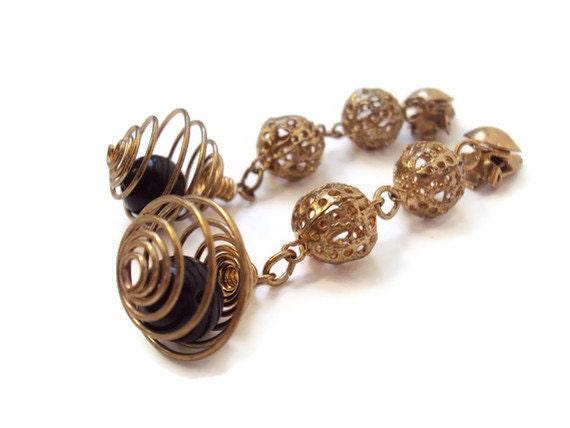 Vintage Costume Jewelry Earrings, Long Dangly Earrings, Filigree Gold Tone Earrings w/ Wire, Clip on Earrings, Easily Convertible to Pierce