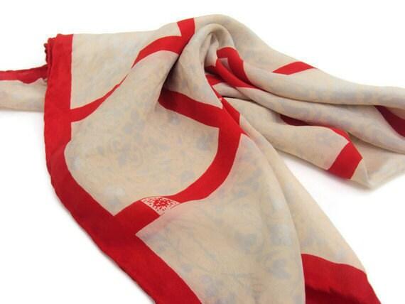 "Vintage Anne Klein Scarf, Silk Scarf, Geometric Scarf with Floral Pattern, Cream and Orange Scarf, Shawl, 24.5""  X  24.5"""