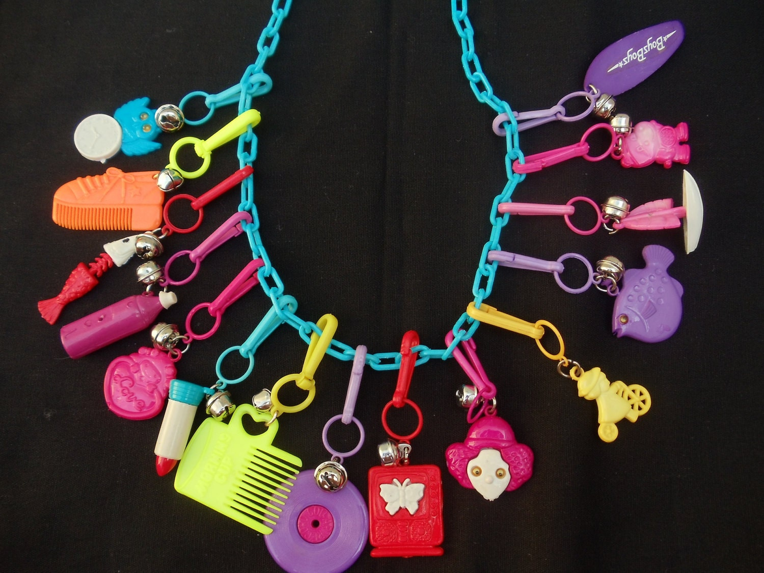 items similar to vintage 80 s charm necklace on etsy
