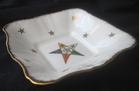 Vintage Masonic OES Order of the Eastern Star Square Candy dish, 22K gold trim stars Freemasons Royal Stafford Bone China England