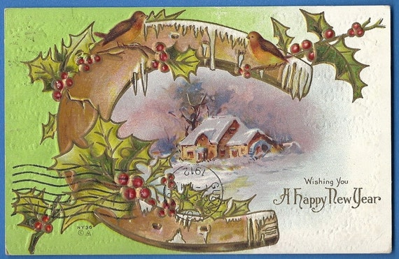 Happy New Year by NASH postcard Horseshoe, Winter Scene, Holly Embossed Vintage Antique postcard 1912