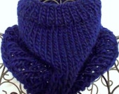 Navy Blue Hand Knit Wool Cowl, Neck Warmer, Circle Scarf