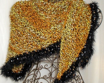 Hand Knit Shawl Le Tweed Golden Tiger