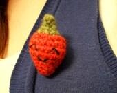 Amigurumi Strawberry Crochet Kawaii Brooch Pin