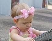 Pink Headband, Pink Bow Headband, Lace Headbands, Bow Headbands