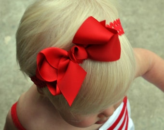 Red Baby Headband, Red Bow Headband, Red Infant Headband, Red Lace Headband, Lace Headbands