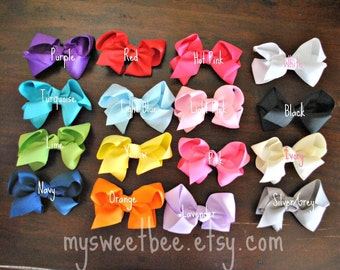 Bow Clips, Hair Clips, Toddler Bows, Baby Bows- You Pick THREE Colors
