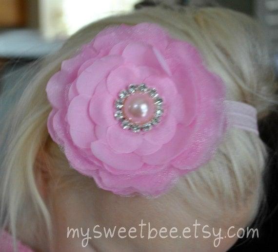 Pink Flower Headband, Baby Headband, Pink Baby Headband, Rhinestones, Pearl
