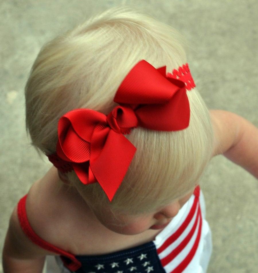 Red Baby Headband Red Bow Headband Red Infant Headband Red