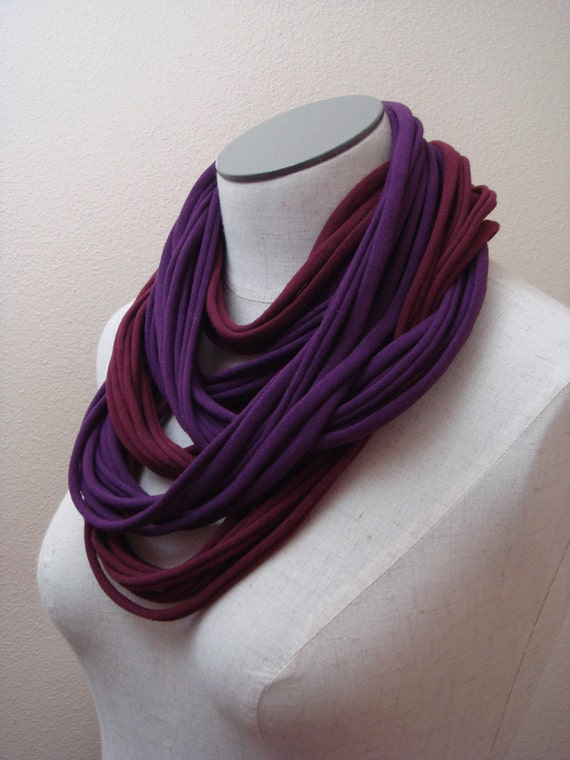 Lush Cowl -  Infinity Scarf - Necklace - Cuff Bracelet, in Crimson and Plum Jersey Fabric