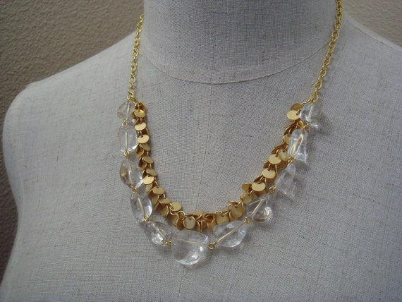 Luxe Rock Crystal and Gold Fringe Necklace, Elegant Modern Organic Jewelry, Chunky Stones