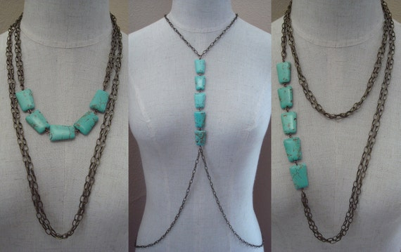 Turquoise Stone Body Harness Chain Jewelry, Convertible Necklace, Draped Chain Chest Piece
