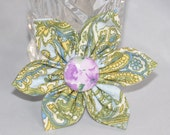 Kanzashi Flower Elegant Blue Yellow and Purple Hair Clip