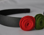 Felt Rosette Flower Headband Red and Green