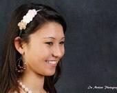 Crochet Flower Headband Pink Ivory Tan