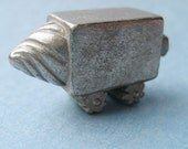 Tiny hand carved metal robot - white metal - drill - The Sidewalk Bot