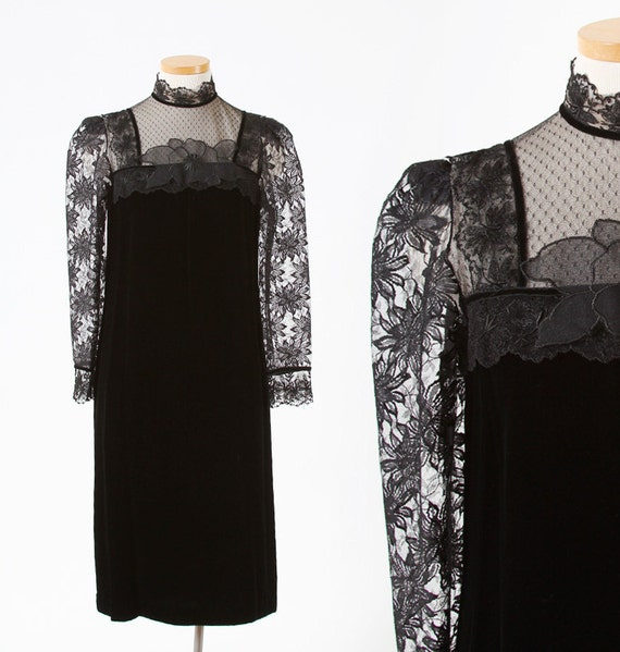 1970s Black Velvet and Lace High-Neck Party Dress - size medium