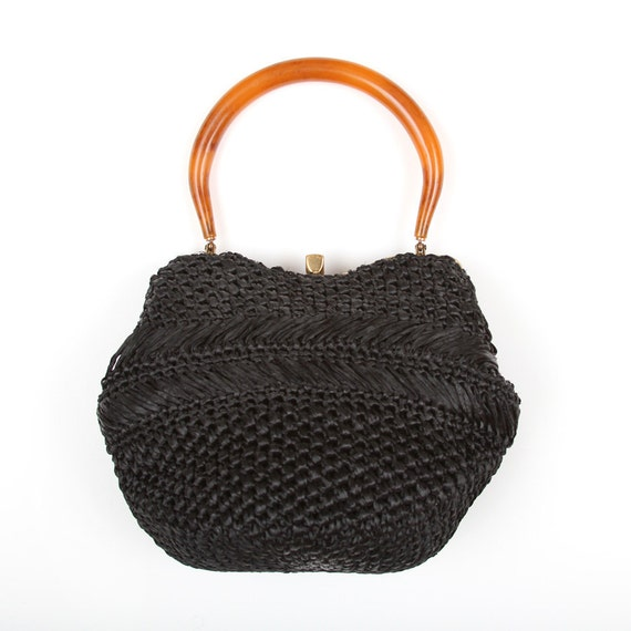 Vintage Black woven straw handbag - purse with tortoise shell handle and gold clasp