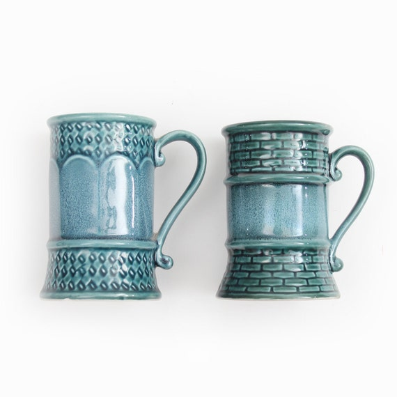 Midieval Style tall glazed ceramic mugs in teal- set of two