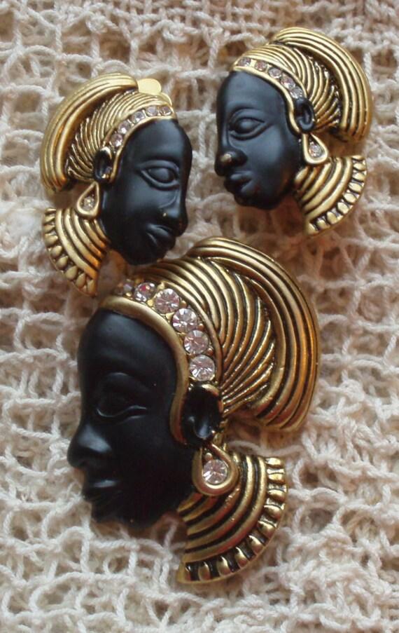 Blackamoor African Woman Enamel Brooch and Earrings Set - Stunning