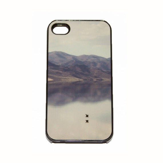 iPhone 4 4s black Case reflection of a bird flying over the water with a sepia toned mountain scape photograph