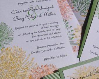 Yellow and Green Mums Modern Wedding Invitation Sample Set