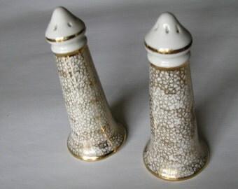 Vintage Gold Leaf  Salt and Pepper Shakers  SALE