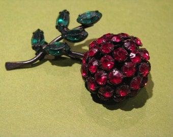Vintage Cherry Brooch by Warner  Japanned Black Back