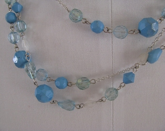 Vintage Silver and Blue  Bead Necklace  SALE