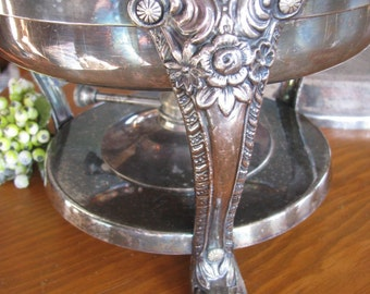 F.B. Rodgers  Vintage Silverplate Chaffing Dish with Alcohol Burner Silver  SALE