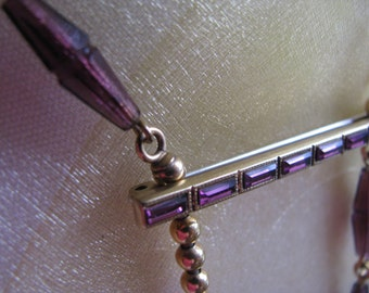 Vintage Purple Amethyst Necklace and Bar Pin Sale