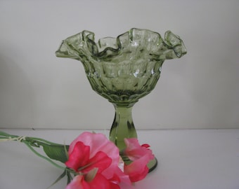 Vintage Green Ruffled Candy Dish