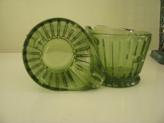 Vintage Green Glass Coal Scuttle Ashtrays  SALE