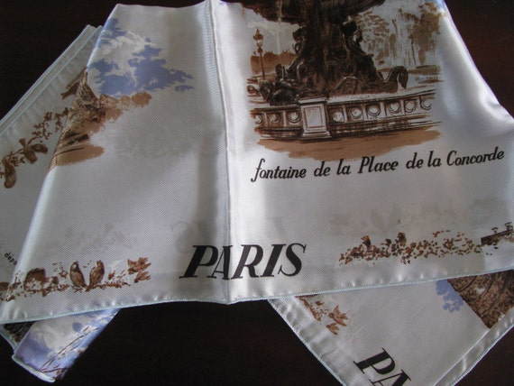 Blue Satin Paris Scarf