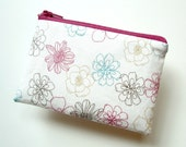 Flower Doodle Mini Zippered Pouch