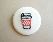Coffee Cup with Red Orange Coffee Cozy Coffee Sleeve Hand Embroidered Pin Brooch