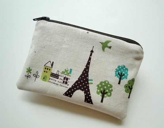 Eiffel Tower and French Village Mini Pouch