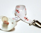 Pink Brown and White Dragonfly Soother Clip