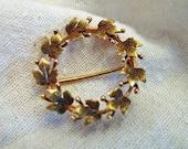SALE-14k gold vintage maple leaf circle pin - Reduced 20%
