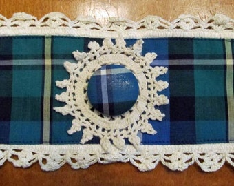 Clan MacNeil tartan wrist cuff with crocheted lace doily pearl snap and lace trim