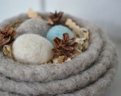 Made to Order-Small set of 3 Felted Nesting Bowls-with 3 Felted Eggs-home decor