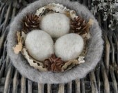 Small  Felted Nestlike Bowl-with 3 Felted Eggs-Home Decor